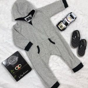 Gray and Black Hooded Sweatsuit